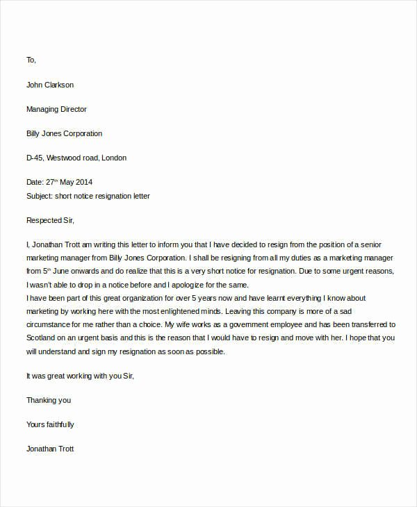 Resignation Letter Short Notice Inspirational 31 formal Resignation Letters