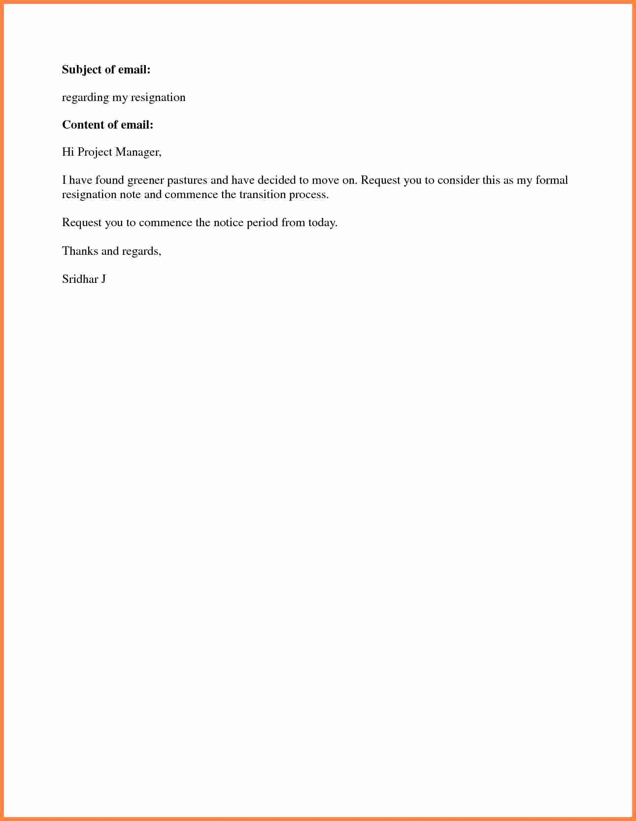 Resignation Letter Short Notice Inspirational 8 Short Notice Resignation Letter Examples