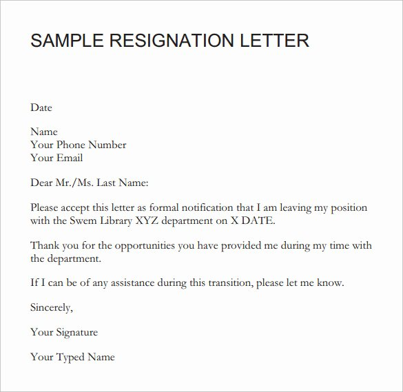 Resignation Letter Short Notice Inspirational Sample Resignation Letter Short Notice 6 Free Documents