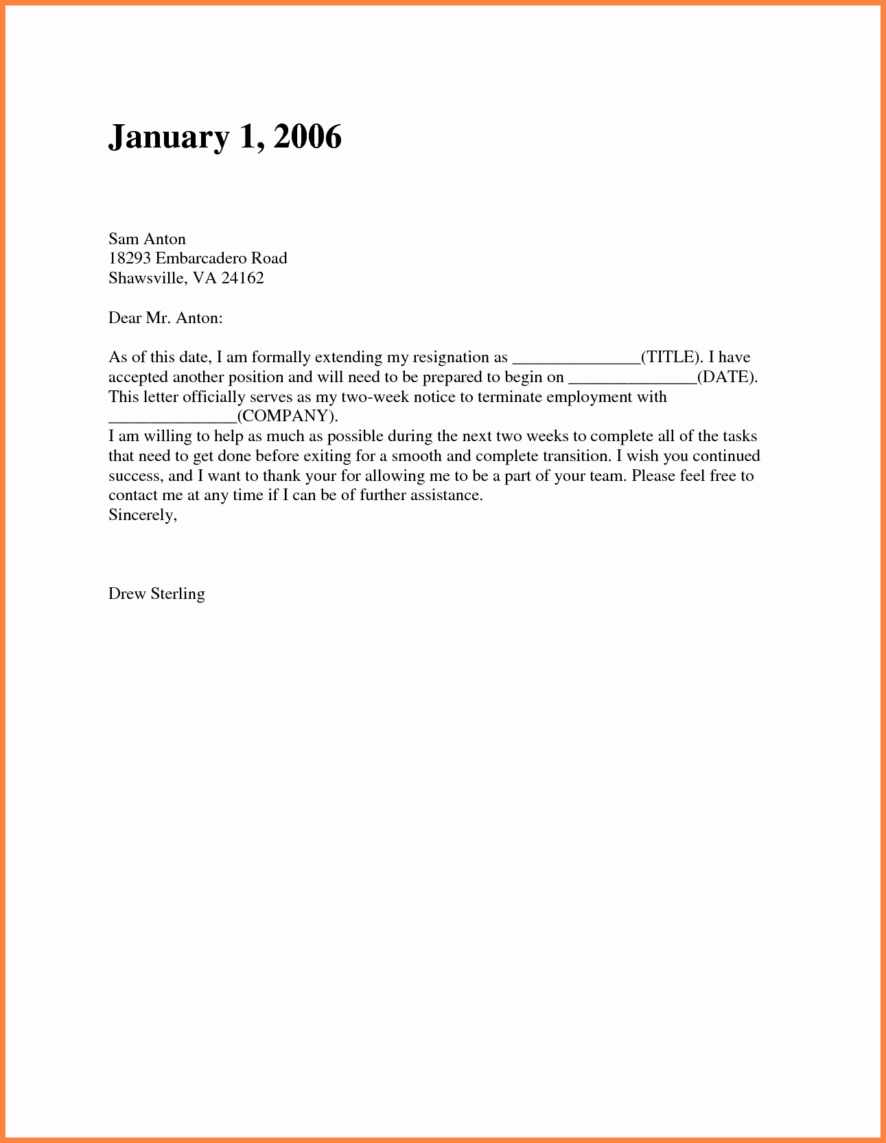 8 short resignation letter weeks notice