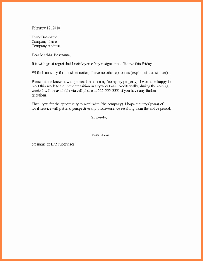 Resignation Letter Short Notice Luxury 8 Short Notice Resignation Letter Examples