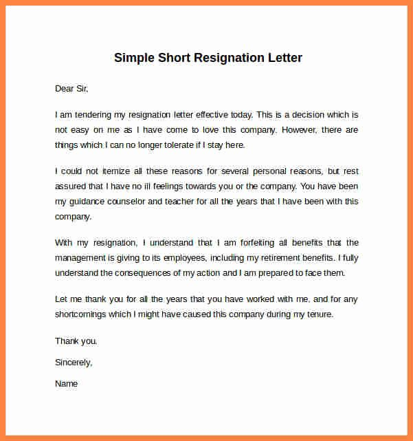 Resignation Letter Short Notice Luxury 8 Short Notice Resignation Letter Template