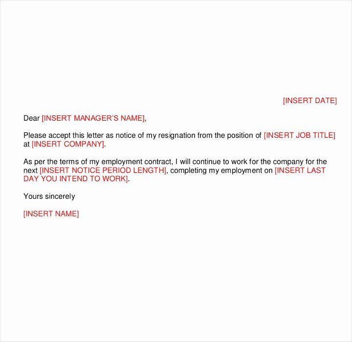 Resignation Letter Short Notice Luxury 9 Short Notice Resignation Letters Free Pdf Doc format