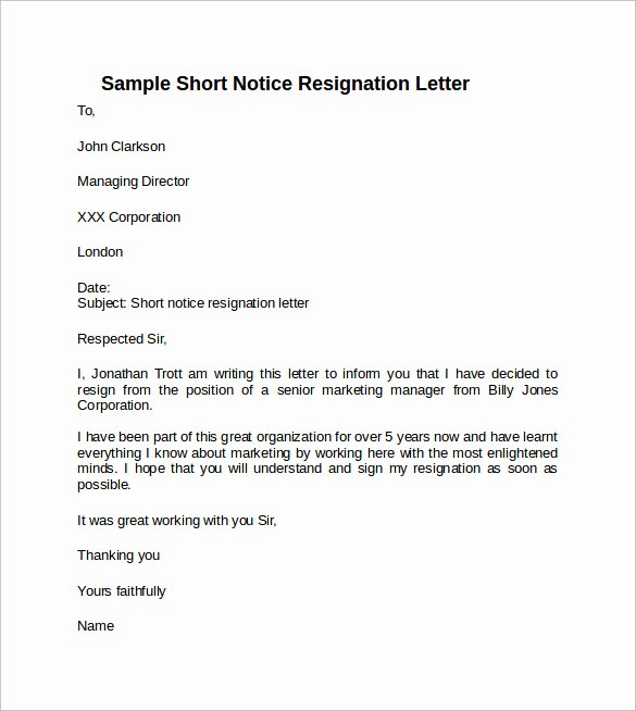 Resignation Letter Short Notice Luxury Sample Resignation Letter Short Notice 6 Free Documents