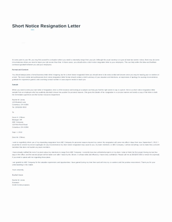 Resignation Letter Short Notice New Resignation Letter format and Tips for Writing A