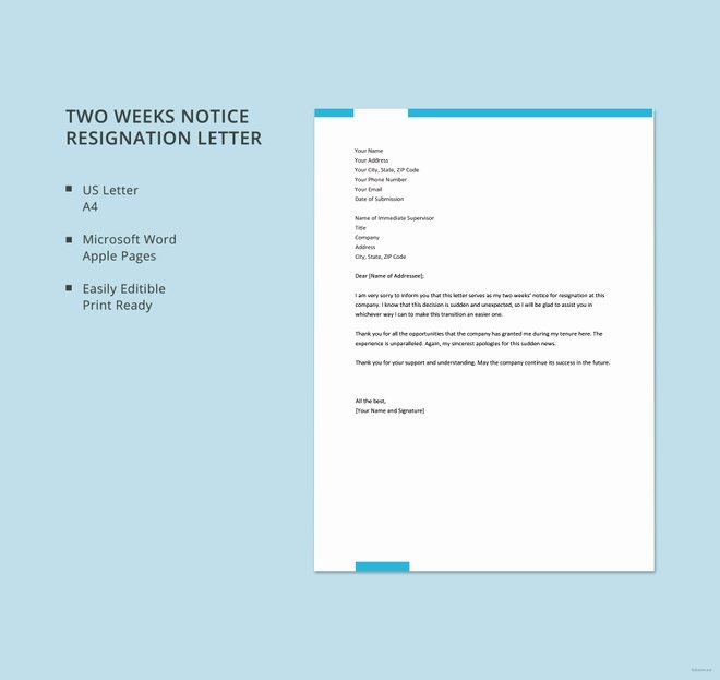 Resignation Letter Short Notice Unique 13 Short Resignation Letter Templates Free Word Pdf