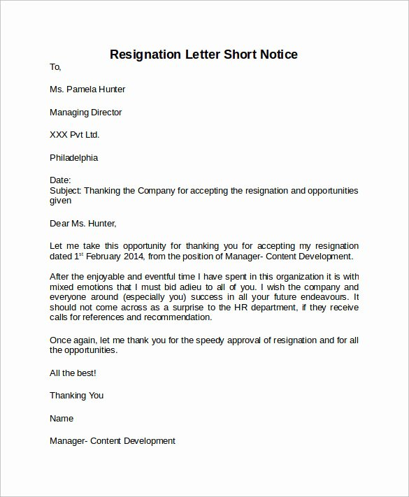 Resignation Letter Short Notice Unique Sample Resignation Letter Short Notice 6 Free Documents