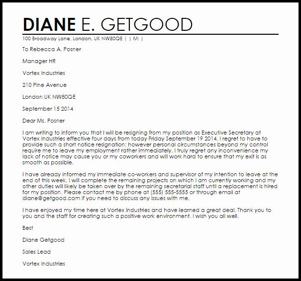 Resignation Letter Short Notice Unique Short Notice Resignation Letter Example