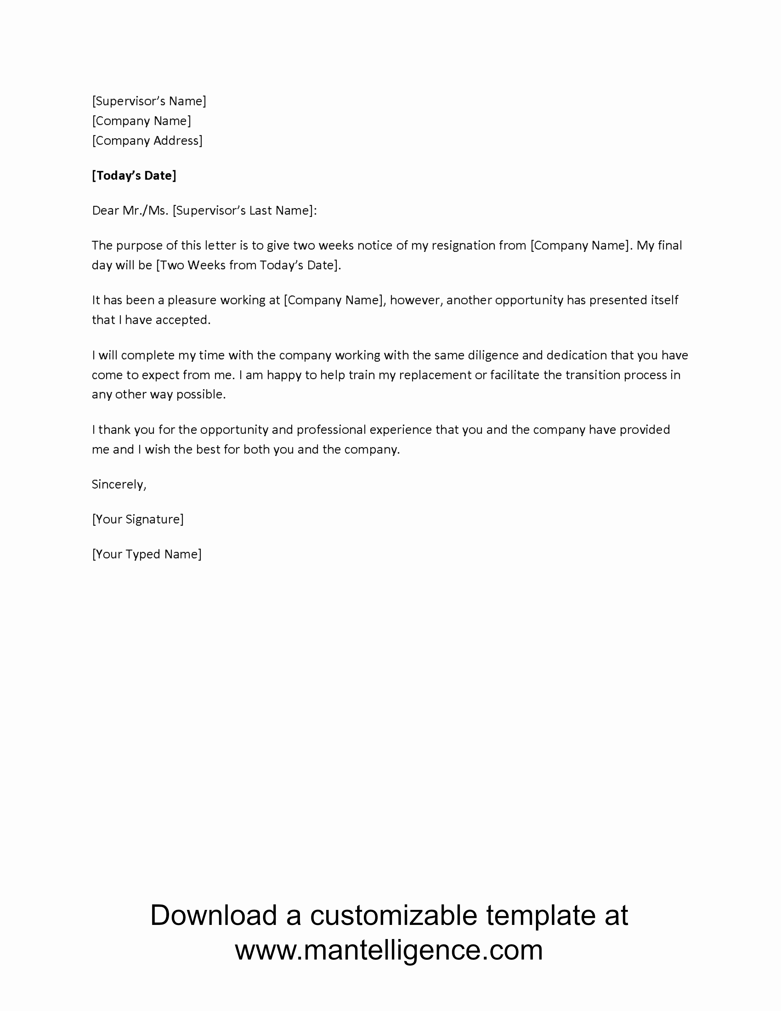 Resignation Letter Two Weeks Notice Awesome New Opportunity Two Weeks Notice Letter Template P