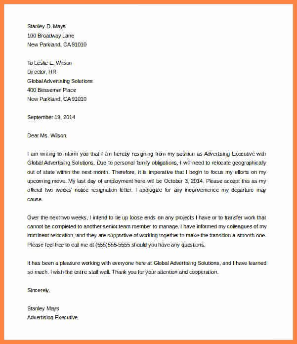 Resignation Letter Two Weeks Notice Fresh 11 Sample Resignation Letter One Week Notice