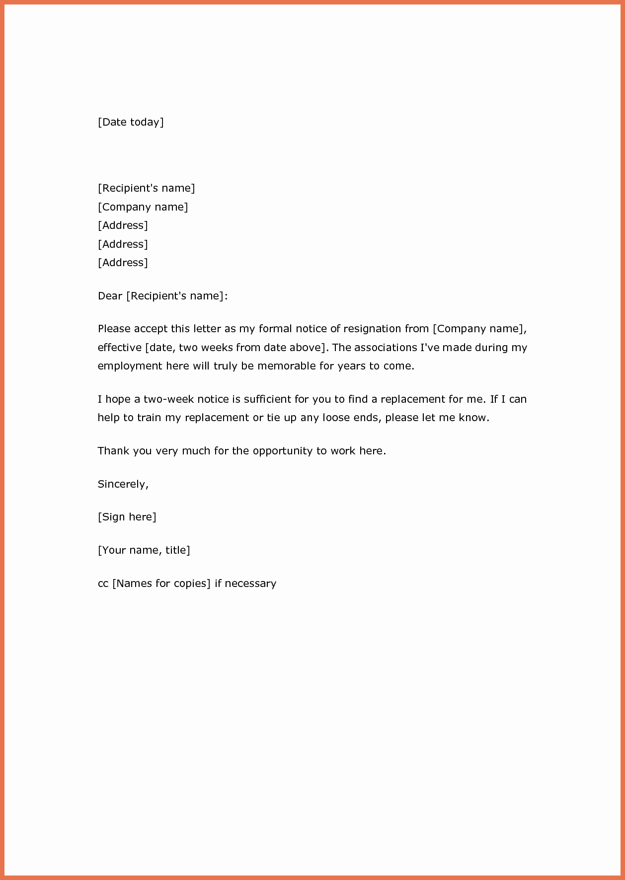 Resignation Letter Two Weeks Notice Lovely Two Weeks' Notice Resignation Letter Samples