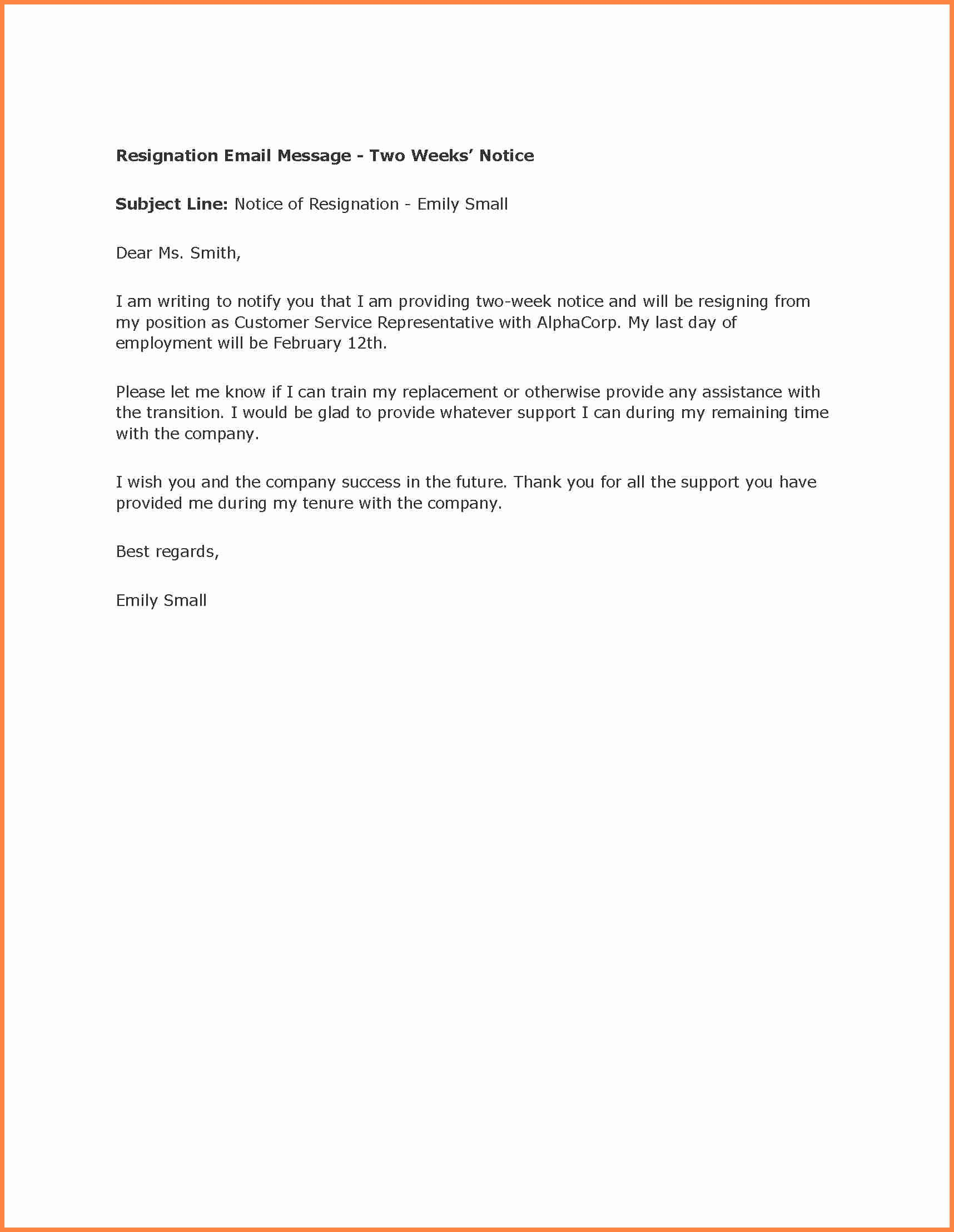 Resignation Letter Two Weeks Notice Luxury 8 Example Letter Of Resignation 2 Week Notice