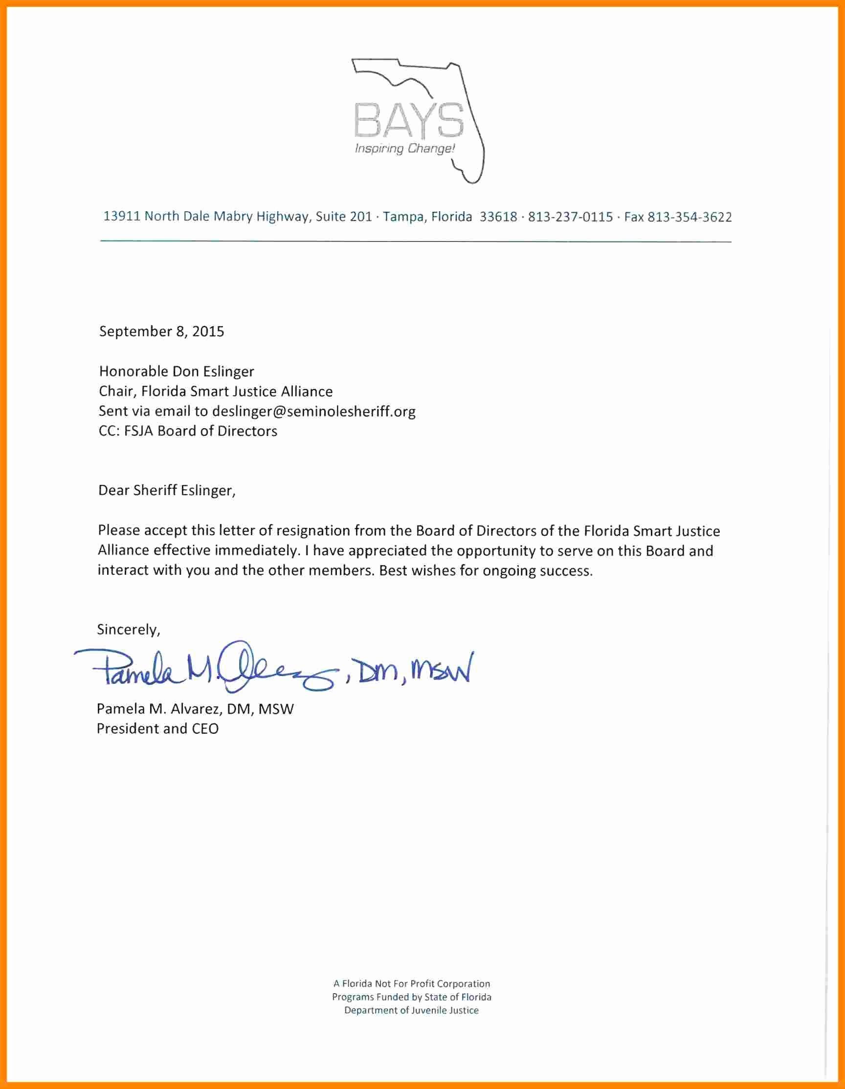 Resignation Letter Volunteer organization Best Of 5 Non Profit Board Resignation Letter Sample