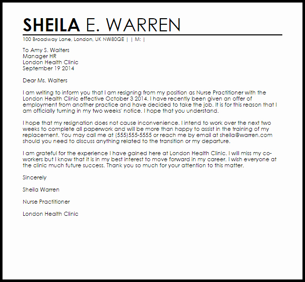 Resignation Letters for Nurses Awesome Nurse Practitioner Resignation Letter Example