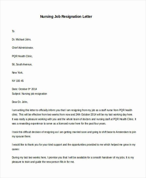 Resignation Letters for Nurses Elegant 31 formal Resignation Letters
