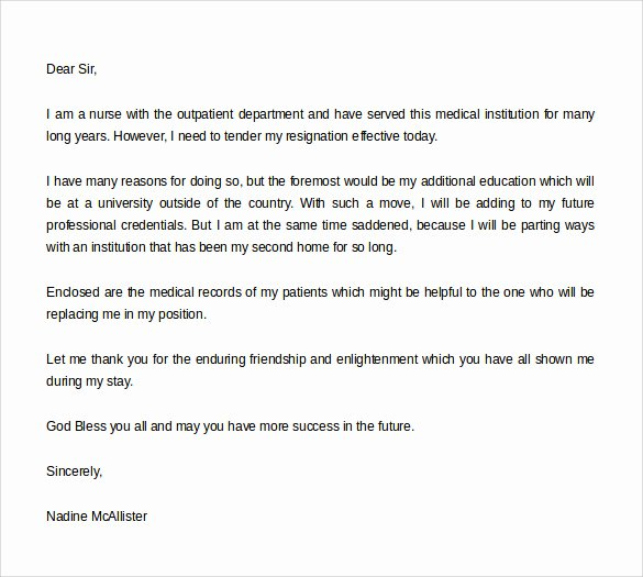 Resignation Letters for Nurses Fresh Free 40 formal Resignation Letters Templates In Pdf