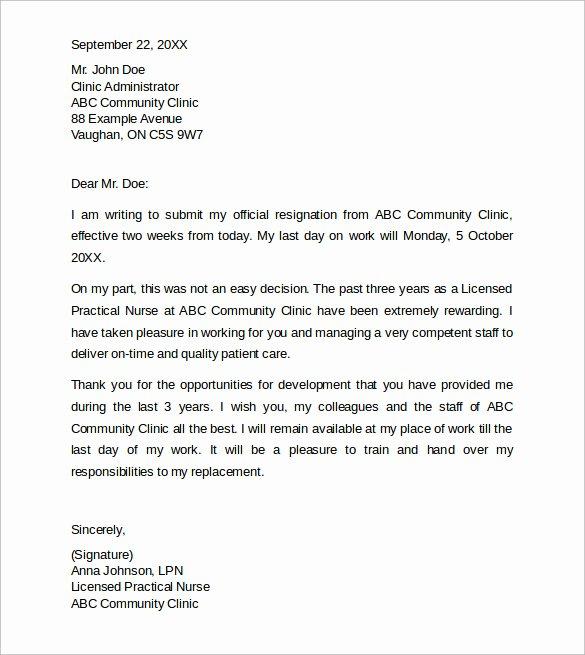 Resignation Letters for Nurses Inspirational Sample Resignation Letters 2 Week Notice 8 Free