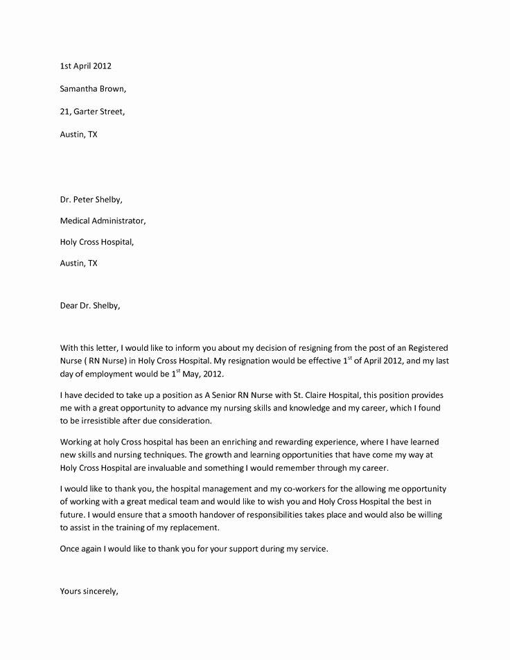 Resignation Letters for Nurses Inspirational Sample Resignation Letterwriting A Letter Resignation