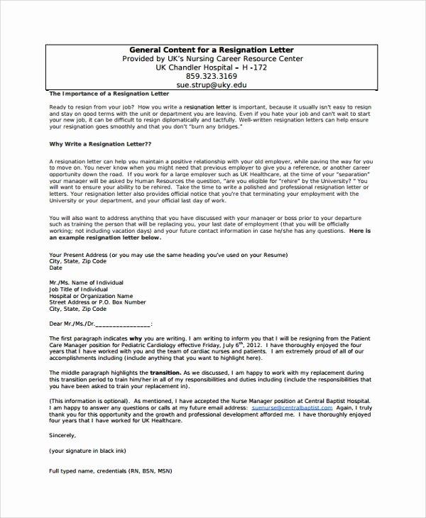 Resignation Letters for Nurses Unique Sample Resignation Letter 18 Documents In Pdf Word