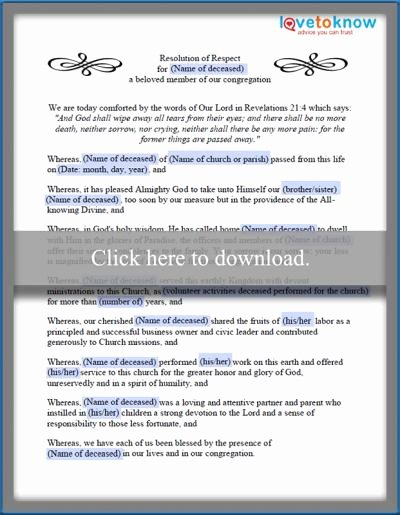 Resolutions for Funerals Examples Best Of Examples Of Funeral Resolutions