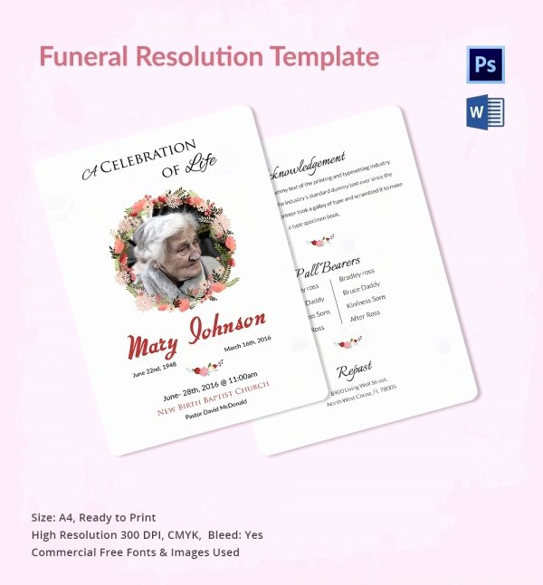 Resolutions for Funerals Examples Elegant Funeral Resolution Template 5 Word Psd format Download