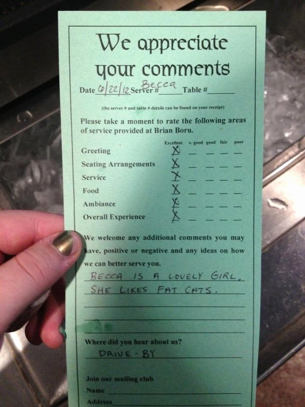 Restaurant Comment Card Example Best Of 13 Hilarious and Sassy Examples Customer Feedback