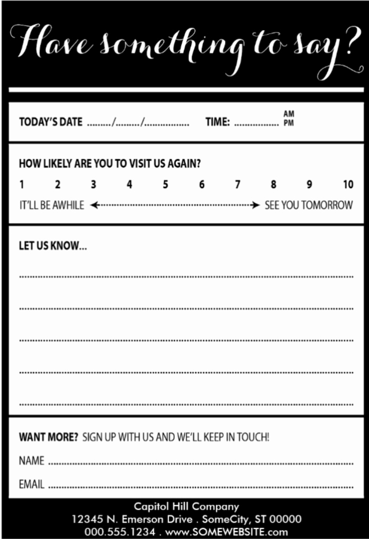 Restaurant Comment Card Example Best Of 9 Restaurant Customer Ment Card Templates & Designs