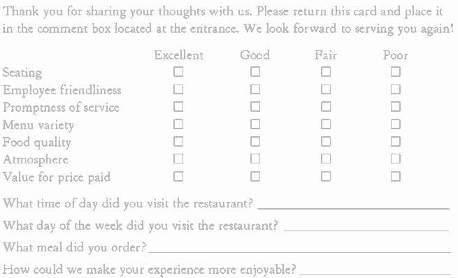 Restaurant Comment Card Example Fresh 10 Best Ment Cards Images On Pinterest