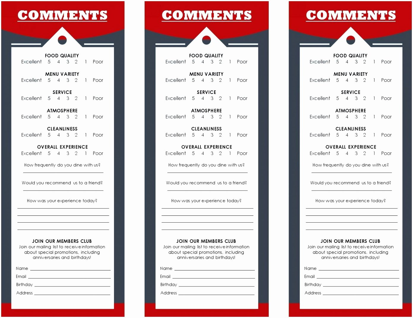 Restaurant Comment Card Example Fresh 9 Restaurant Ment Card Template Vrtwi