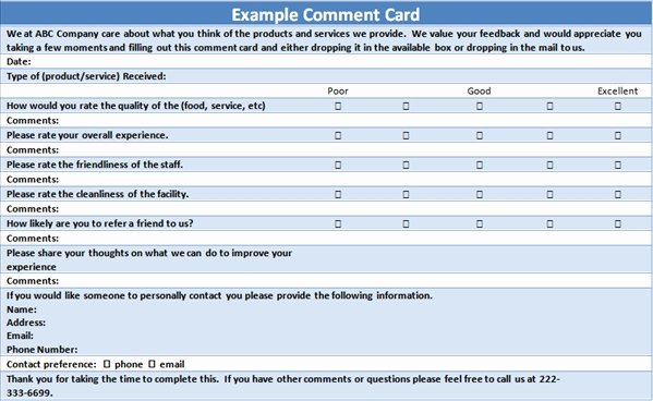 Restaurant Comment Card Example Fresh Free Customer Ment Card Template
