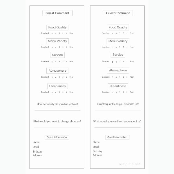 Restaurant Comment Card Example Fresh How to Make A Restaurant Ment Card 5 Templates