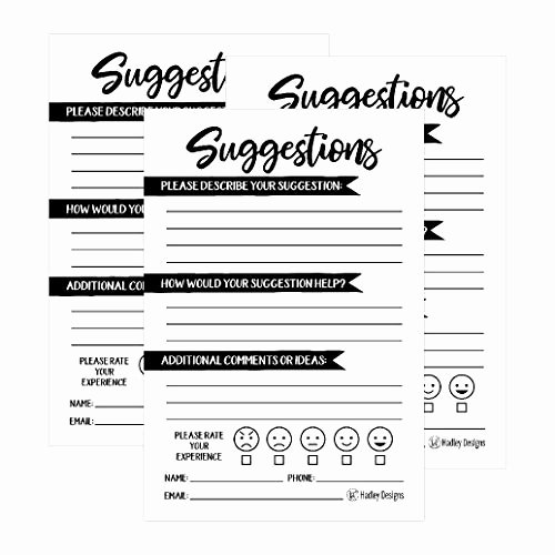 Restaurant Comment Card Example Fresh Ment Cards Amazon