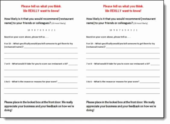 Restaurant Comment Card Example Inspirational 5 Restaurant Ment Card Templates Free Sample Templates
