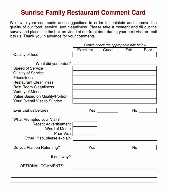 Restaurant Comment Card Example Inspirational Free 10 Ment Cards In Illustrator Ms Word