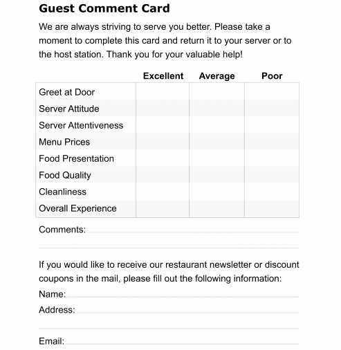 Restaurant Comment Card Example Luxury 5 Restaurant Ment Card Templates formats Examples In