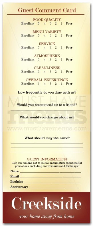 Restaurant Comment Card Example New Family Restaurants Ment Card