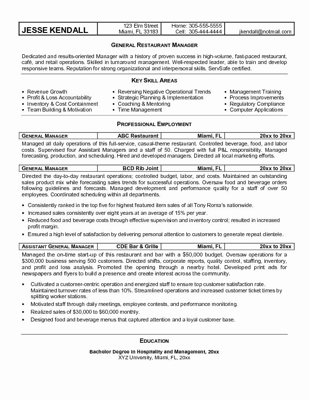 Restaurant General Manager Resume Example Awesome Restaurant Manager Resume Objective