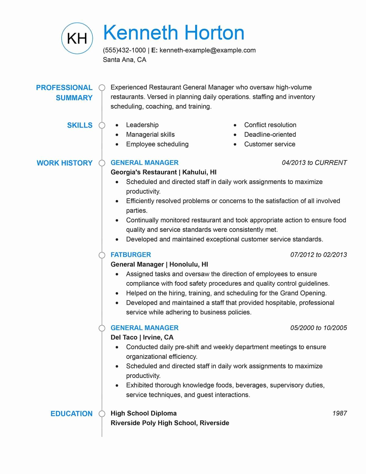 Restaurant General Manager Resume Example Beautiful Unfor Table Restaurant Server Resume Examples to Stand