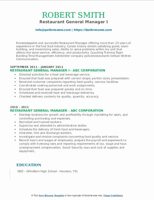 Restaurant General Manager Resume Example Best Of Restaurant General Manager Resume Samples