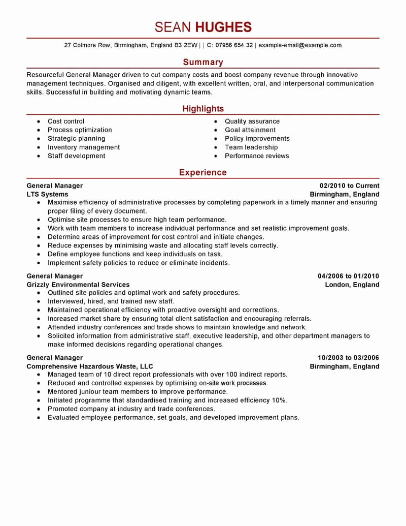 Restaurant General Manager Resume Example Elegant Best General Manager Resume Example