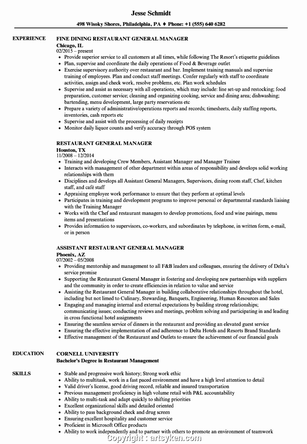 Restaurant General Manager Resume Example Elegant Executive Restaurant General Manager Duties Resume