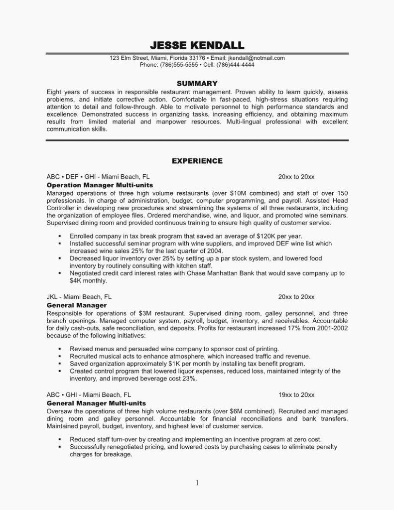 Restaurant General Manager Resume Example Fresh 14 Awesome Things You Can