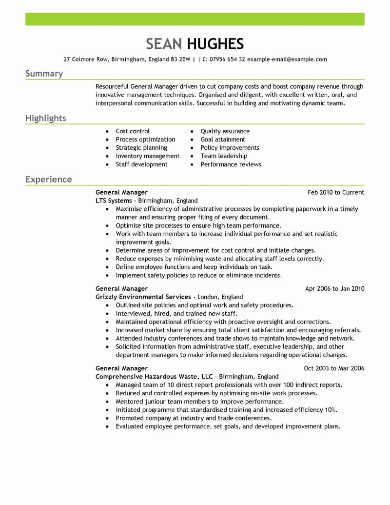 Restaurant General Manager Resume Example Fresh Best General Manager Resume Example