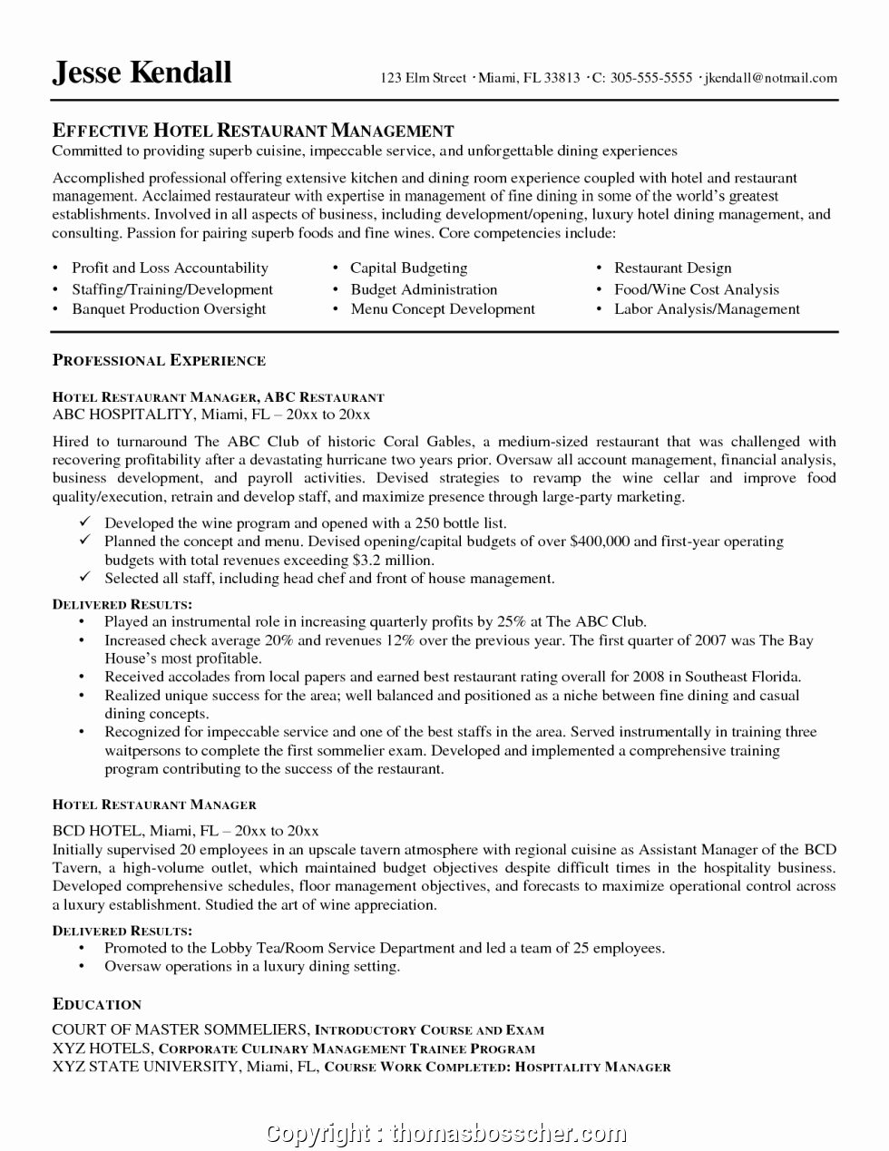 Restaurant General Manager Resume Example Inspirational top Restaurant General Manager Resume Examples Restaurant