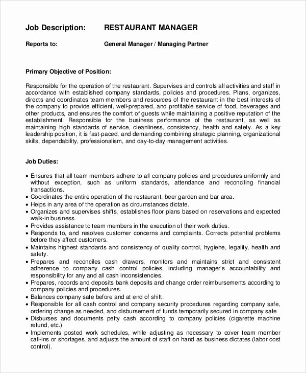 Restaurant General Manager Resume Example Lovely Restaurant Manager Job Description