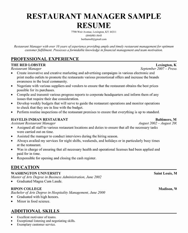 Restaurant General Manager Resume Example Lovely Restaurant Manager Resume Template