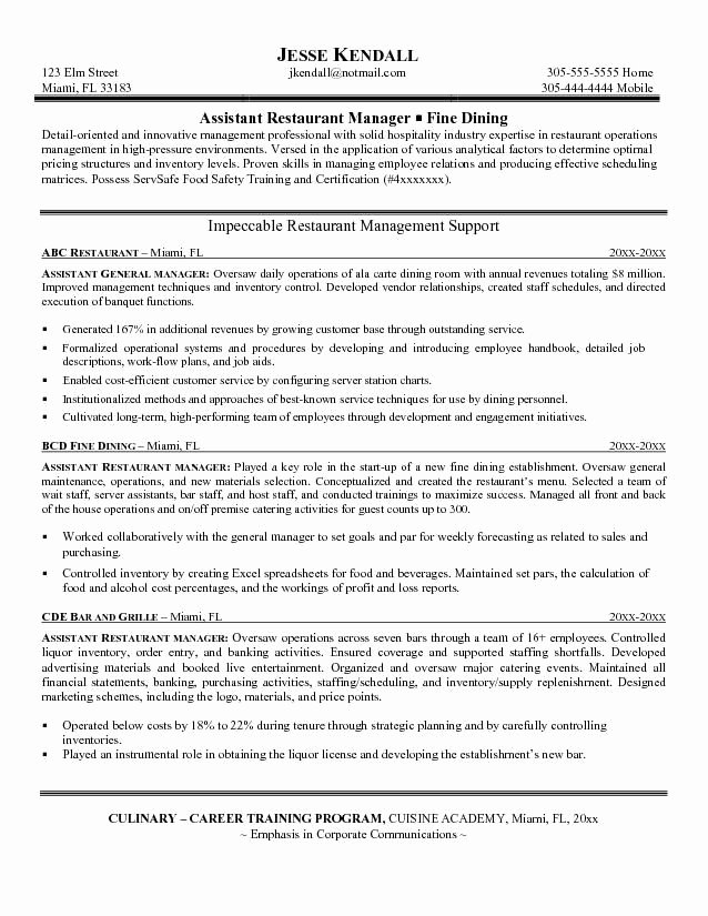 Restaurant General Manager Resume Samples Awesome Restaurant Manager Resume Monday Resume
