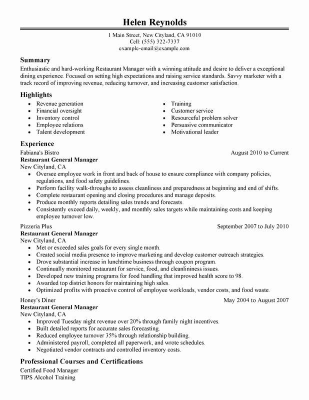 Restaurant General Manager Resume Samples Beautiful Restaurant Manager Resume Examples Created by Pros