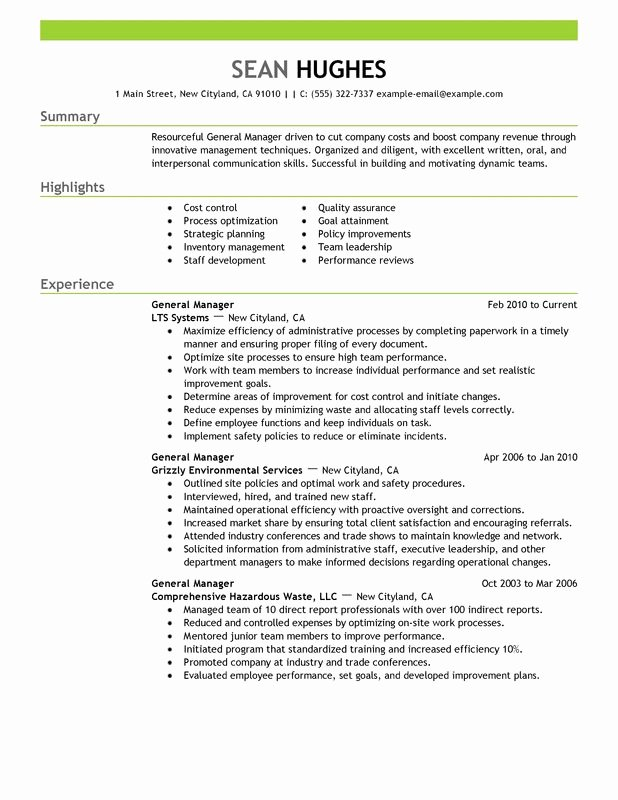 Restaurant General Manager Resume Samples Fresh General Manager Resume Examples Created by Pros