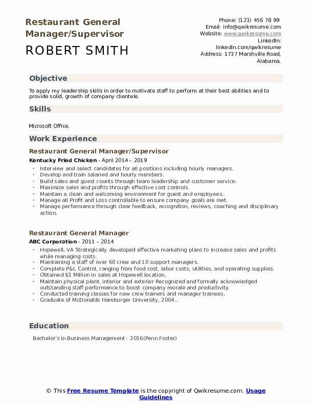 Restaurant General Manager Resume Samples Fresh Restaurant General Manager Resume Samples